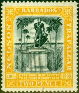 Barbados 1907 2d Black & Yellow SG161 Fine Mtd Mint Stamp