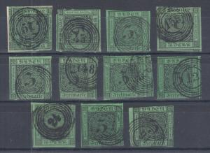 Baden Sc 7 used. 1853 3kr numeral with 5 ring cancels, 11 mostly diff.