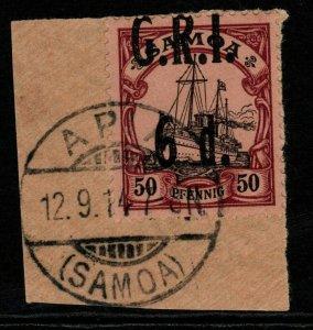 SAMOA SG108 1914 6d on 50pf BLACK & PURPLE/BUFF FINE USED ON PIECE