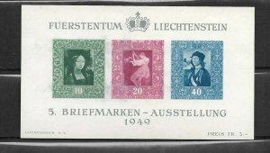 Liechtenstein Scott #238 mint never hinged 1949 Portrait Souvenir Sheet of 3, og