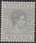 1938 - 1946 Bahamas KGVI two pence issue ML-LMH Sc# 103 CV $14.00 Stk #1