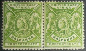 British East Africa 1896 QV ½a yellow-green Coiled Pair MNH SG #65 Scott #72