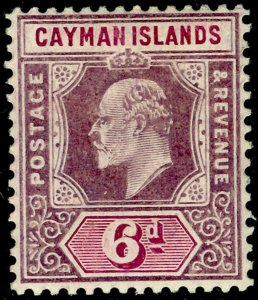 CAYMAN ISLANDS SG30a, 6d dull & brt purple, LH MINT. Cat £32.