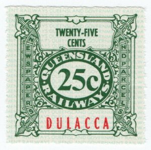 (I.B) Australia - Queensland Railways : Parcel Stamp 25c (Dulacca)