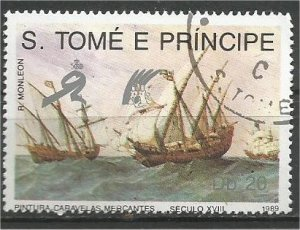 ST. THOMAS AND PRINCE, 1989, used 20d, Merchant ships Scott 893