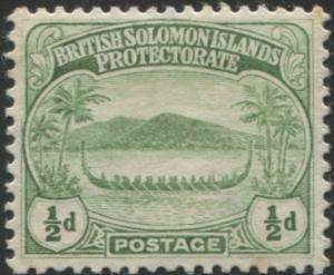 Solomon Islands 1908 SG8 ½d green Canoe MLH