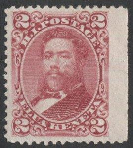US - HAWAII 1886 Sc 43 MLH 2c King David Kalakaua  Jumbo margin single