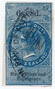 (I.B) New Zealand Revenue : Stamp Duty 6/8d (inverted watermark)