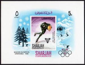 Sharjah Mi Block 31 (#407) mnh s/s - 1968 Winter Olympics Grenoble - ice skating