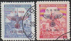 Stamp Germany Bohemia Czechoslovakia Mi 083-4 Sc 60-1 1942 WWII 3rd Reich Used