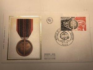France Colorano silk FDC, 23-11-1974, Medaille de la résistance française