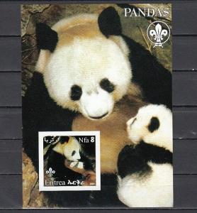 Eritrea, 2002 Cinderella issue. Pandas on an IMPERF s/sheet. Scout Logo.