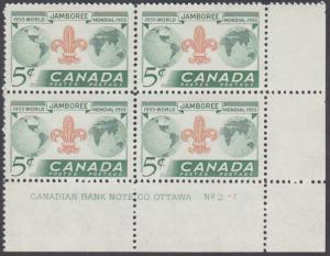 Canada - #356 Boy Scouts Plate Block #2-1 - MNH