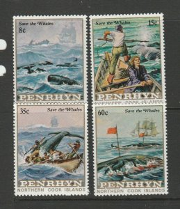 Penhyrn 1983 Save the Whales first 4 vals ( set is 5 ) UM/MNH SG 290/3