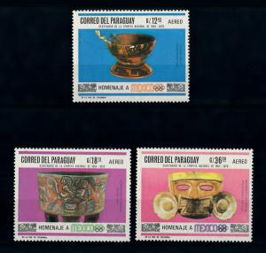[72416] Paraguay 1967 Olympic Games Mexico Indian Art Airmail Stamps MNH