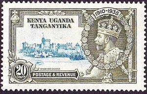 KENYA UGANDA TANGANYIKA 1935 KGV 20c Light Blue & Olive-Green Jubilee SG140 MH