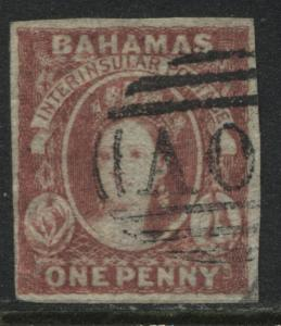 Bahamas QV 1860 1d dull lake imperf on thin paper used
