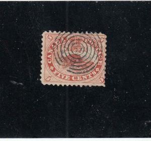 CANADA  # 15  F-USED 15cts  JULY 1859 BEAVER / BULLSEYE CANCEL  CAT VALUE $20