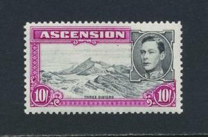 ASCENSION 1944, 10sh P13, VF MLH SG#47b CAT£48 $63 (SEE BELOW)