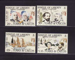 Turks and Caicos Islands 661-664 Set MNH Statue of Liberty A