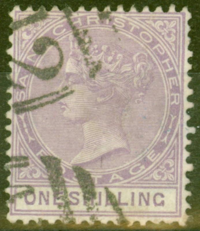 St Christopher 1886 1s Mauve SG20 Fine Used