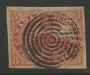 Canada Used #4 XF -- Target cancel - Imperf Beaver - CHOICE - Signed Brun