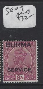 BURMA (P0204B) KGV OVPT ON INDIA  8A SERVICE   SG 08  MOG