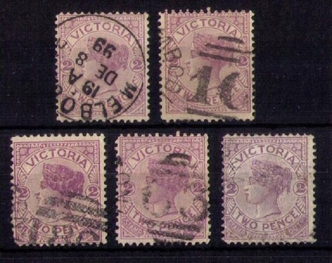 VICTORIA (LOT OF FIVE) SCOTT #162 x5 Early Australian States F-VF