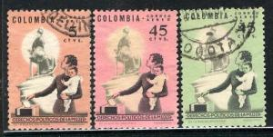 Colombia; 1963/64: Sc. # C448-C450: O/Used Cpl. Set