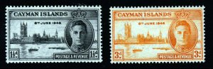 CAYMAN ISLANDS 1946 King George VI VictorySet SG 127 & SG 128 MINT
