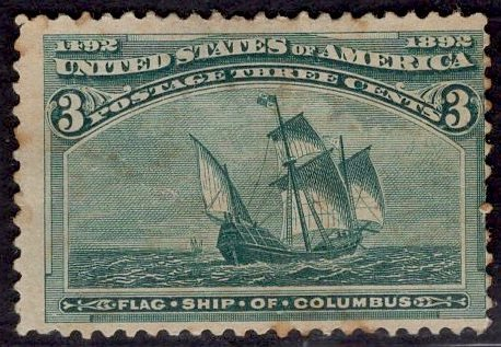 US Stamp #232 3c Columbian USED SCV $15