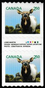 Canada 2714 Baby Wildlife Wapiti $2.50 coil gutter pair MNH 2014