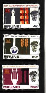 D3-Brunei-Scott#128-30-Unused hinged set-Unesco1966-Omnibus