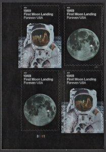 SC#5399-5400 (55¢) 1969: First Moon Landing Plate Block: LL #B1111 (2019) SA
