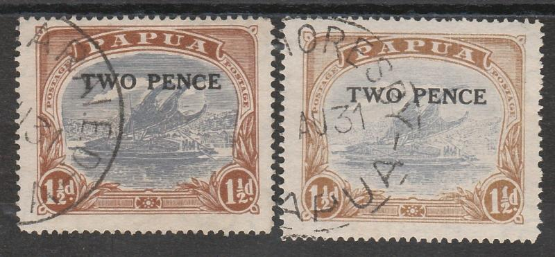 PAPUA 1931 LAKATOI TWO PENCE ON 11/2D BOTH PRINTINGS USED