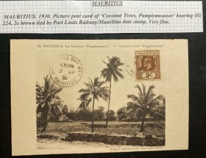 1930 Port Louis Railway TPO Mauritius Real Picture Postcard Cover Cocoanut Trees