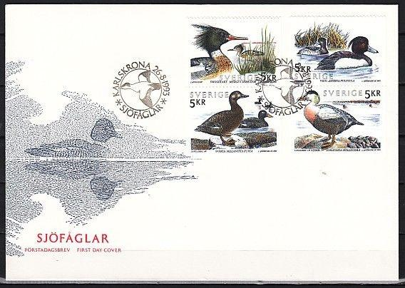 Sweden, Scott cat. 2028-2031. Sea Birds issue on a First day cover.