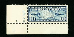 US Stamps # C7 VF Engraver's Initials OG NH