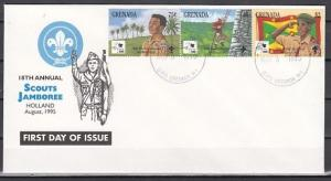 Grenada, Scott cat. 2426 A-C. Holland Scout Jamboree issue. First Day Cover.
