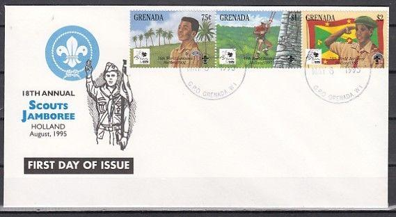 Grenada, Scott cat. 2426 A-C. Holland Scout Jamboree issue. First Day Cover. ^