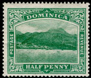 DOMINICA SG37, ½d green, M MINT. Cat £12. WMK MULT CA