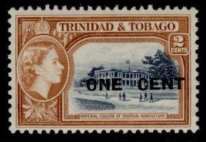 TRINIDAD & TOBAGO QEII SG280, 1c on 2c indigo & orange-brown, NH MINT.
