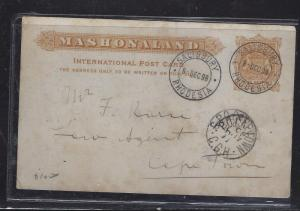 RHODESIA (P1609B) 1898 1/2D PSC TO CAPETOWN WITH MSG