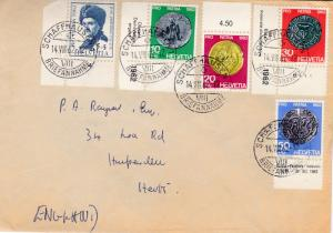 Switzerland 1962 Pro-Patria Ancient Coins Complete (5) cover. Local use