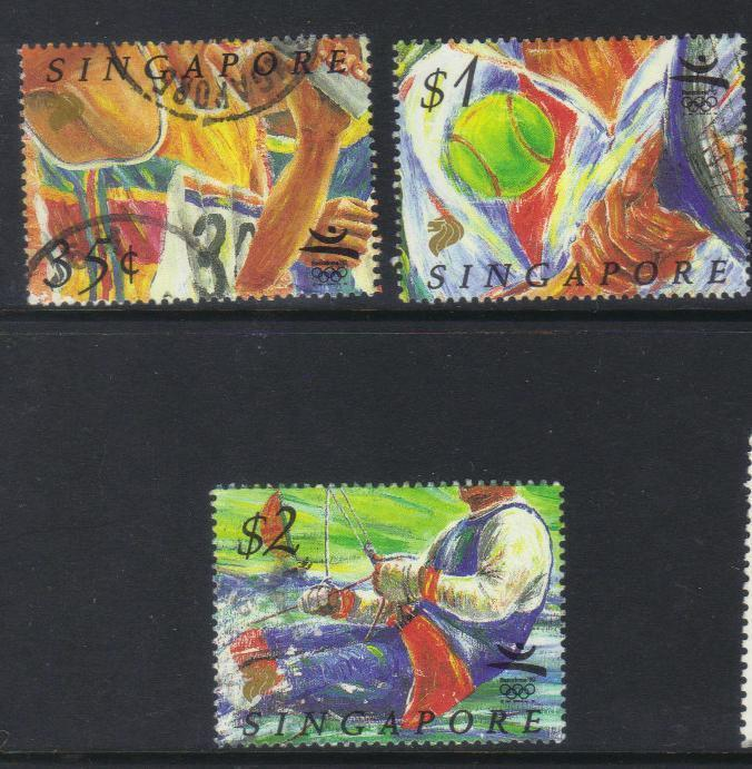 SINGAPORE 1992 OLYMPIC GAMES 3 USED VALUES