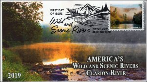 19-105, 2019, Wild and Scenic Rivers, Pictorial Postmark, FDC, Clarion River