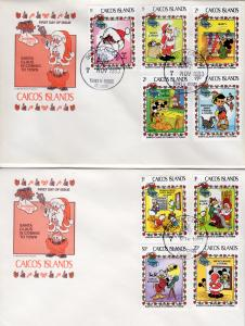 Caicos Islands 1983 DISNEY CHARACTERS Set (9) + S/S Official FDC (3)