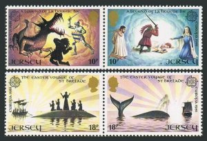 Jersey 271-274a pairs,MNH.Michel 253-256. EUROPE CEPT-1981.Legends.Dragon,Whale,