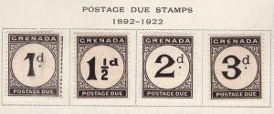 GRENADA Scott J11-12 MH* wmk 4 1921-22 postage due set