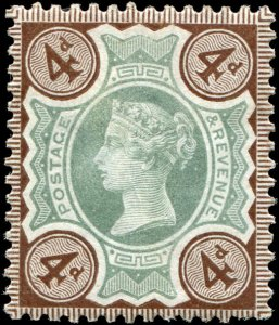 Great Britain - Scott #116 - 1887 QV 4 1/2d Brown and Green - MNH